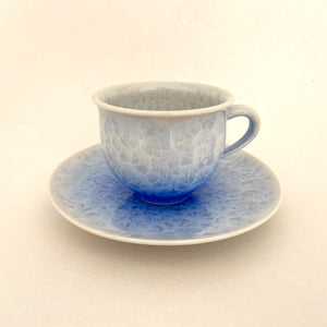 Blue Flower Crystal Tea Cup & Saucer