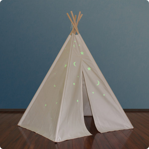 6ft Hideaway Five Panel Teepee w/ Glow-in-the Dark Stars