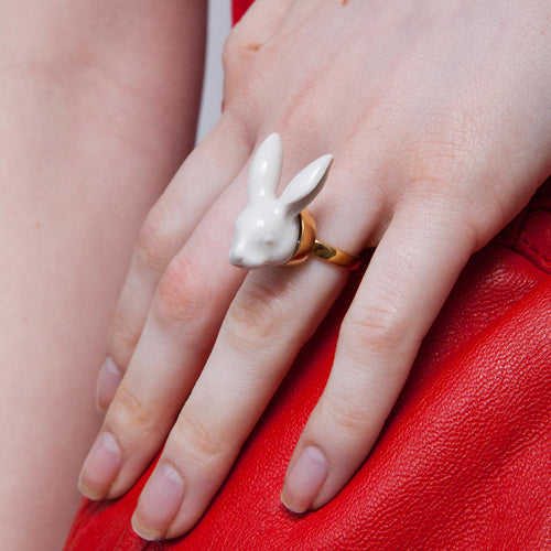 Adjustable Rabbit Head Ring by Andres Gallardo - Teel Yes