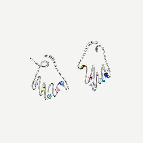 Applauding Earrings - Sliver by Yvmin _ Teel Yes