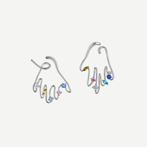 Fish Shadow Earrings with Color Enamel - Red