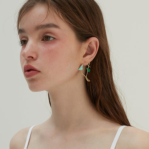 Fish shadow Earrings with Color Enamel Green by Yvmin - Teel Yes