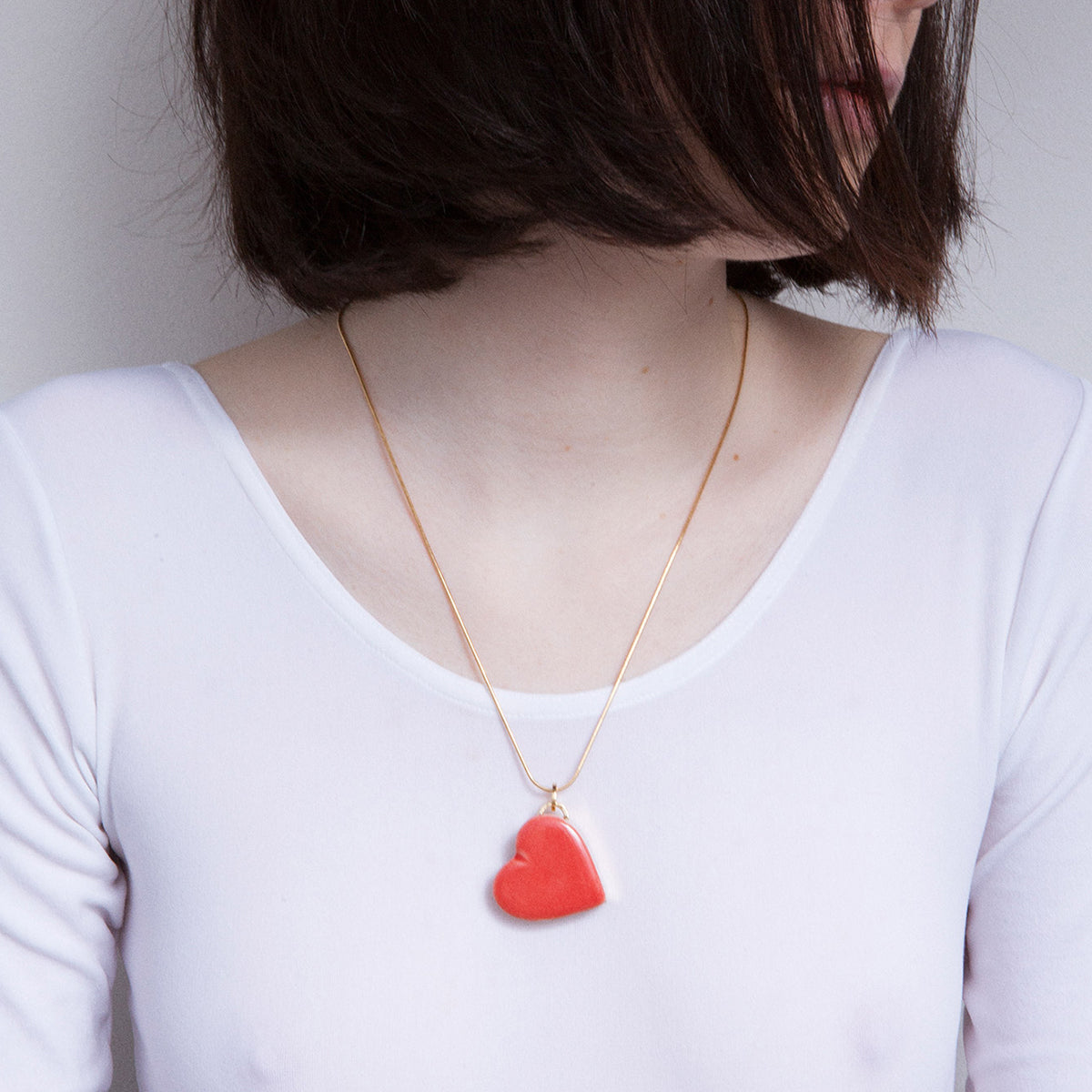 Single Heart Necklace (Red) by Andres Gallardo - Teel Yes