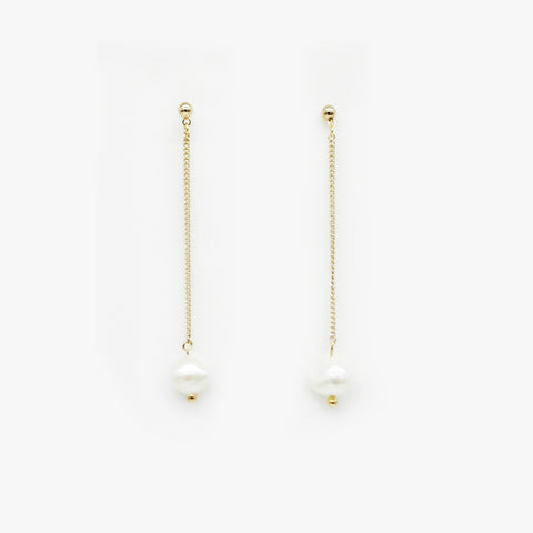 Paper Clip Earrings with Pearl