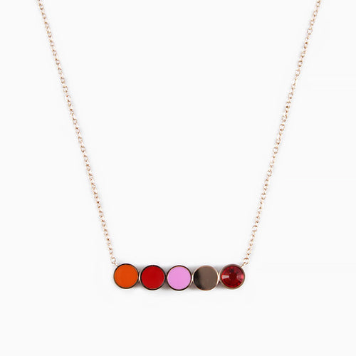 Violet Rainbow Necklace Rose Gold
