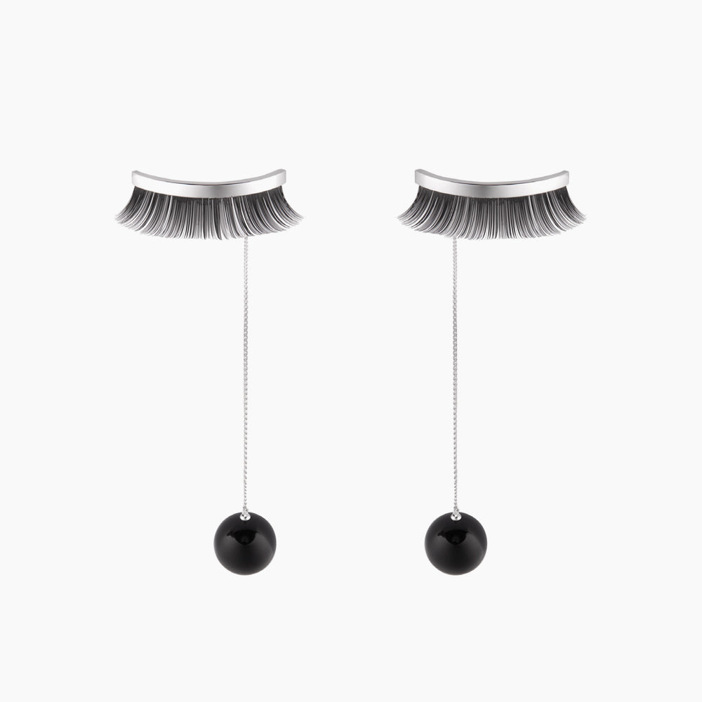 YVMIN Earrings - Black Eyelash & Teardrop Earrings (Silver Version) - Teel Yes