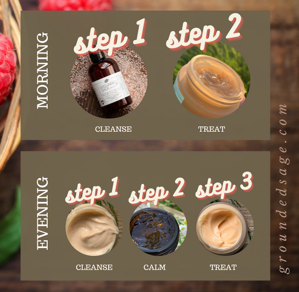 Steps in a maskne skincare routine - A natural at home daily facial routine for acne caused by masks that's natural and healthy