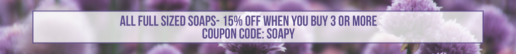 save 15% on full size soap bars when you buy 3 or more with the coupon code SOAPY