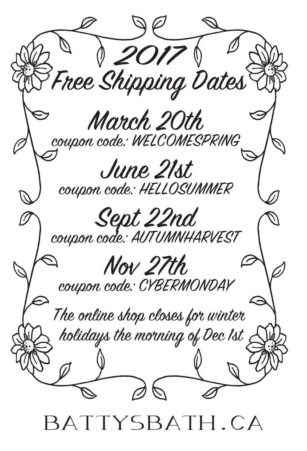 Free Shipping at Batty's Bath on Natural Skin Care and Cruelty Free Cosmetics