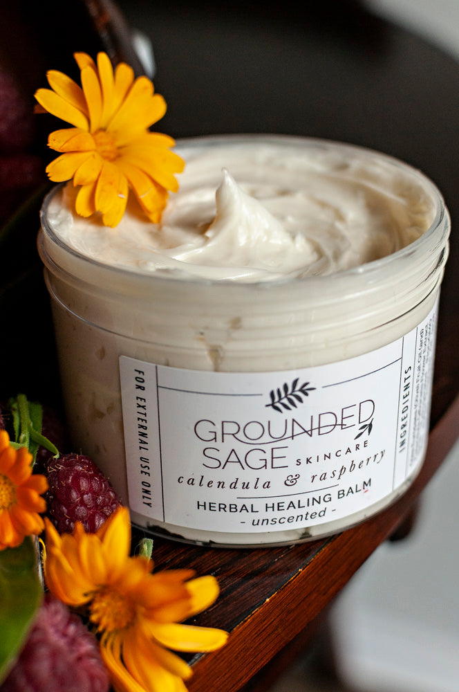 Calendula & Raspberry Herbal Healing Balm for eczema, cracked heels, hard-working hands, and more!