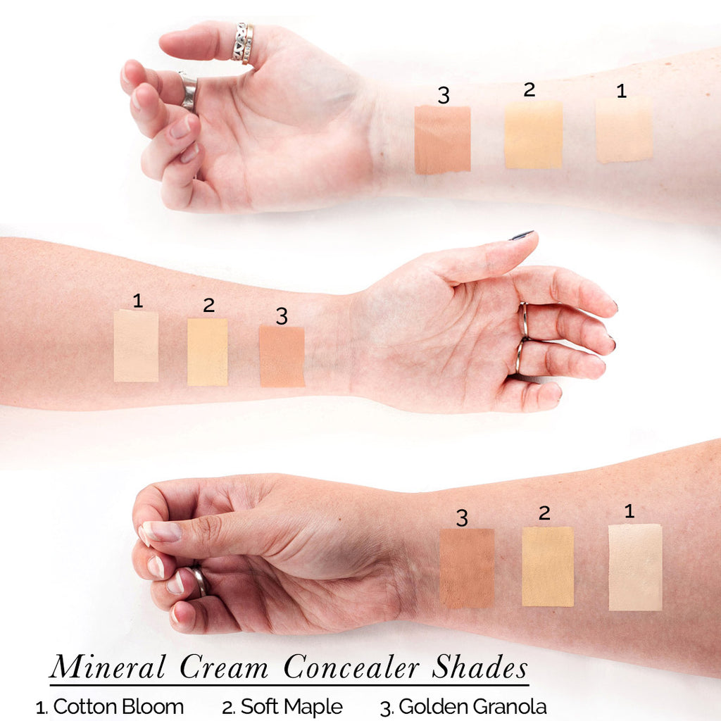 all natural concealer shade swatches - clean beauty for face