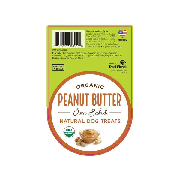 Organic Oven Baked Peanut Butter Cookie Dog Treats 10oz. Box