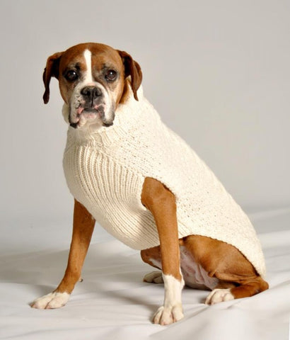 Cable Knit Dog Sweater - Natural