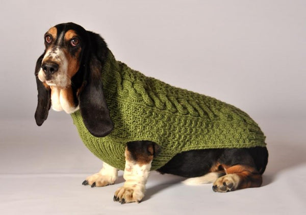 Cable Knit Dog Sweater - Green