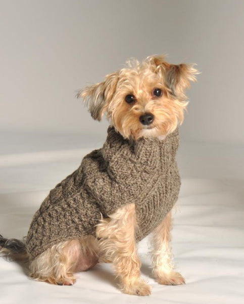 Cable Knit Dog Sweater - Grey