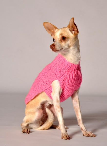 Cable Knit Dog Sweater - Pink