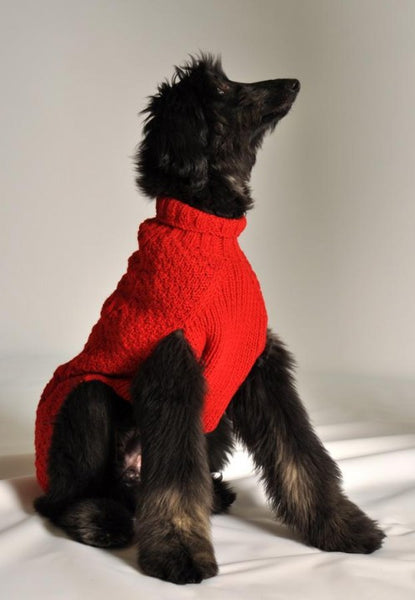 Cable Knit Dog Sweater - Red