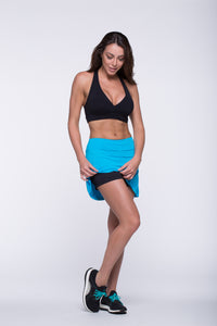 Skort Tennis - Amni/ Airtech, Black and Turquoise