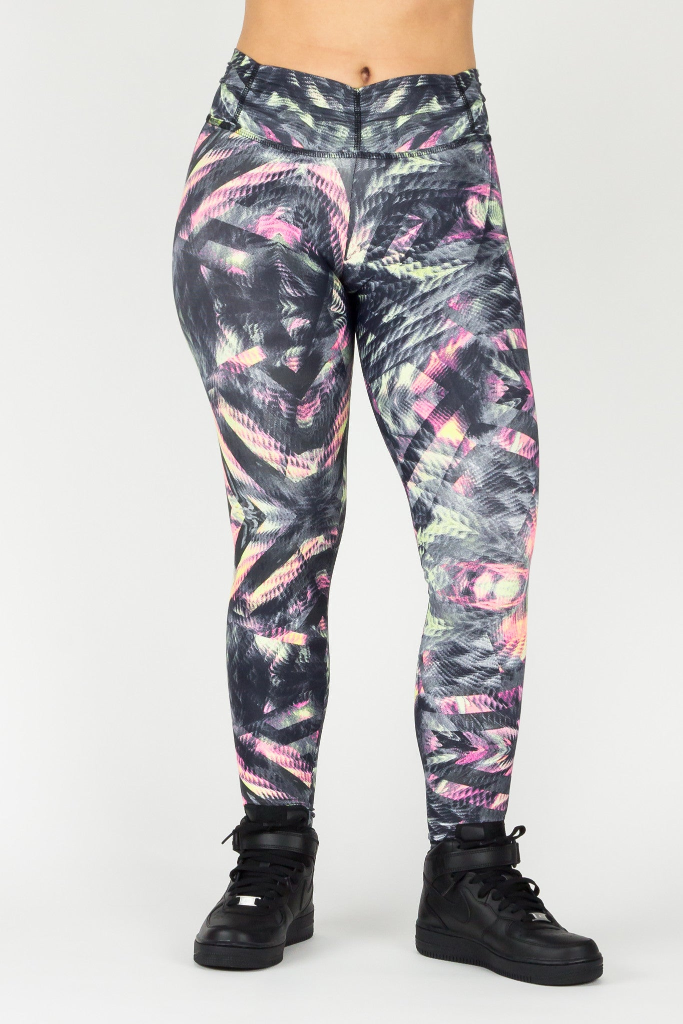 Legging Full Length Crazy Print - Amni, Black and Pink Thunder