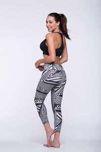 Legging Crazy Print - Amni, Black and White Tribal
