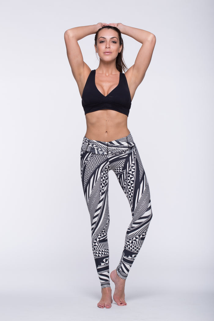 Legging Full Length Crazy Print - Amni, Black and White Tribal