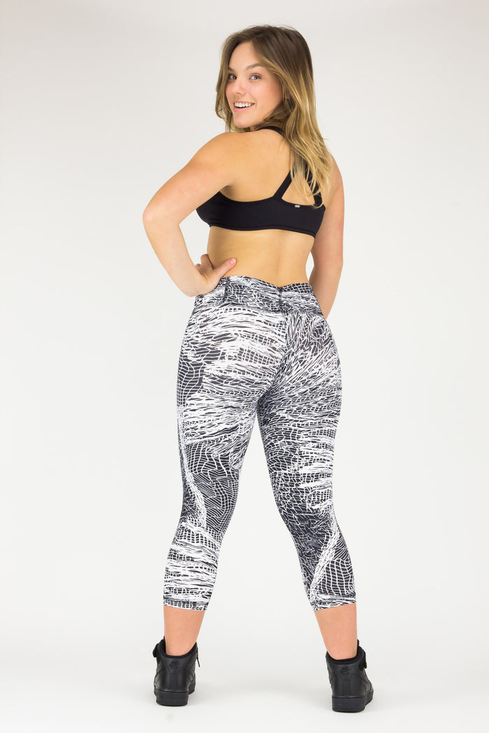 Legging Crazy Print - Amni, Black and White Web