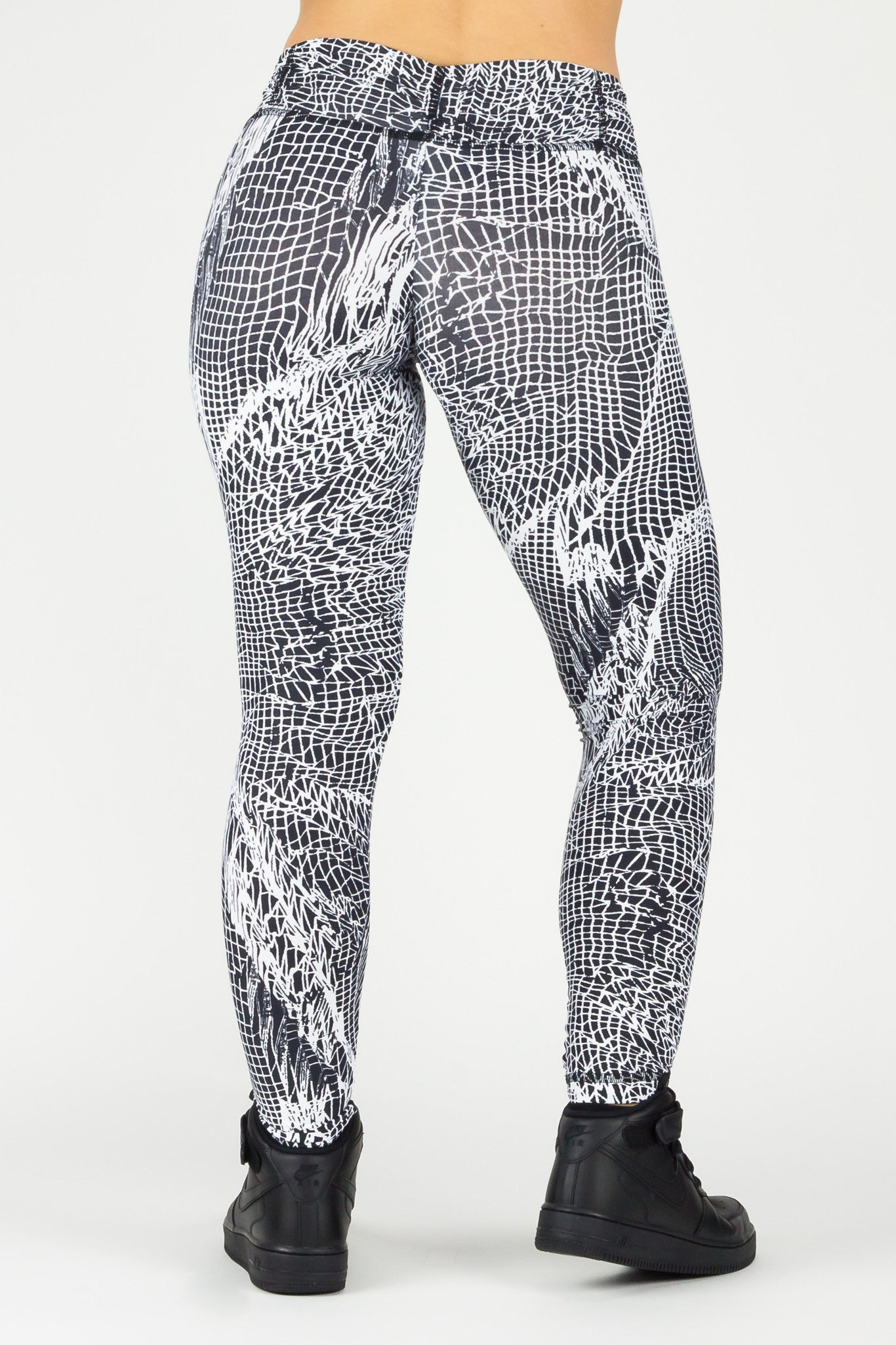 Legging Full Length Crazy Print - Amni, Black and White Web