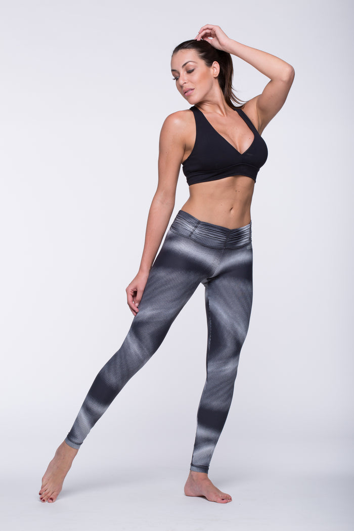 Legging Full Length Crazy Print - Amni, Black Coding