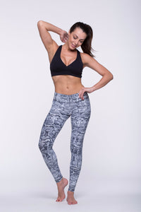 Legging Full Length Crazy Print - Amni, Black Cobra