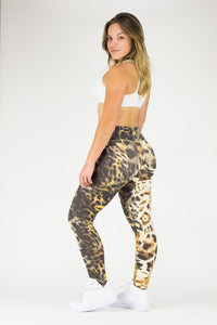 Legging Full Length Crazy Print - Amni, Brown Leopard