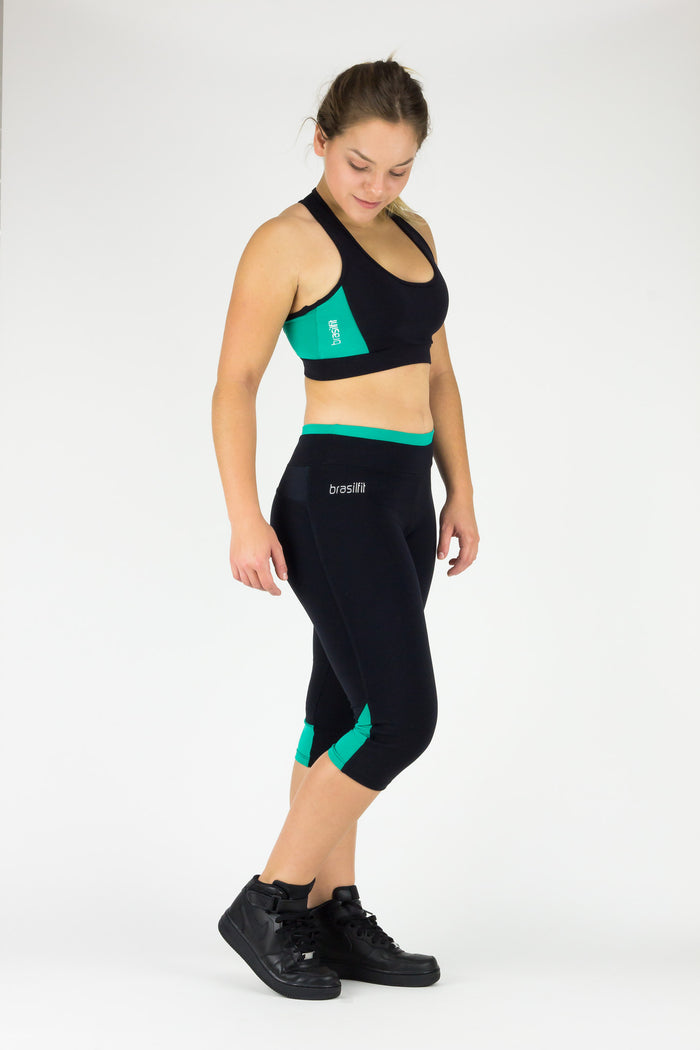Legging Under Knee Vitoria Regia - Supplex, Black and Turquoise