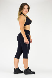 Legging Under Knee Paloma - Emana® Anti-Cellulite, Black and Silver