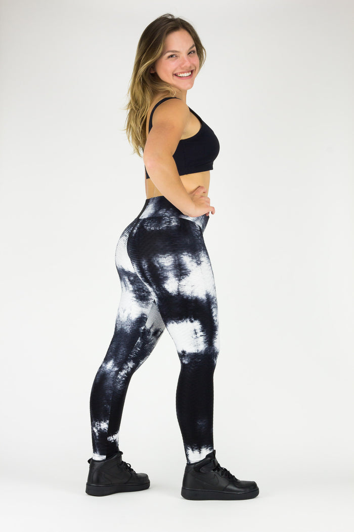 Legging Full Length Wallpaper Tie Dye - Amni, Black and White