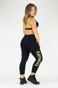 Legging Calore - Supplex, Black and Citrus