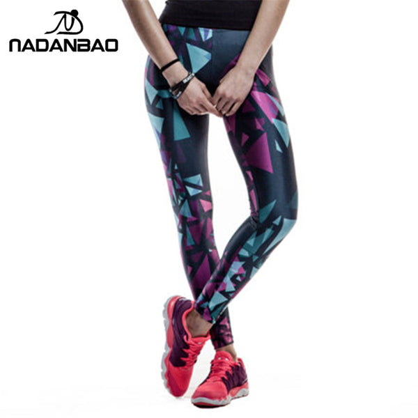 Black Blue and Purple Objects  Printed leggings