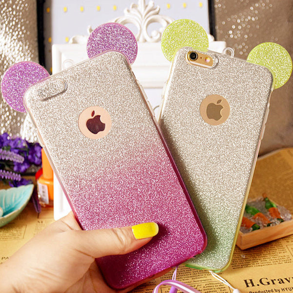 3D Minnie Mickey Mouse Ears silicone Glitter Gradient Case for iPhone