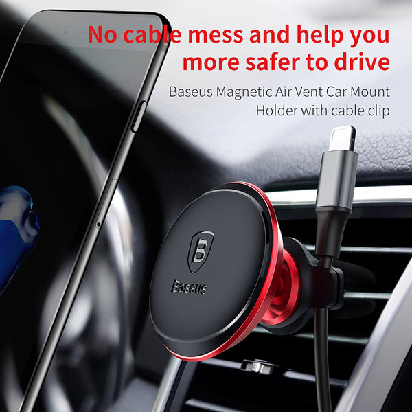 Baseus Brand Car phone holder For Iphone xiaomi sumsung Cable Clip air vent mount magnet phone stand support smartphone voiture
