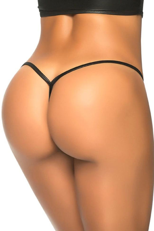 Wet Look Black Y-Back Thong