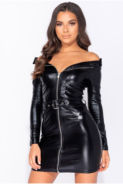 Leather Look Biker Style Mini Dress