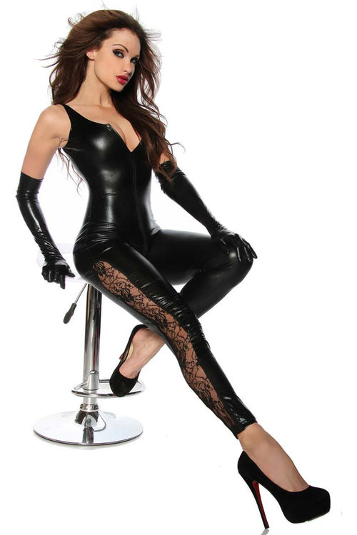 Open crotch catsuit and Lace Catsuit-Wet Look & PVC-PureDiva