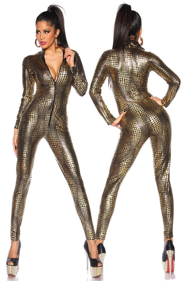 Gold Reptile Jumpsuit - PureDiva