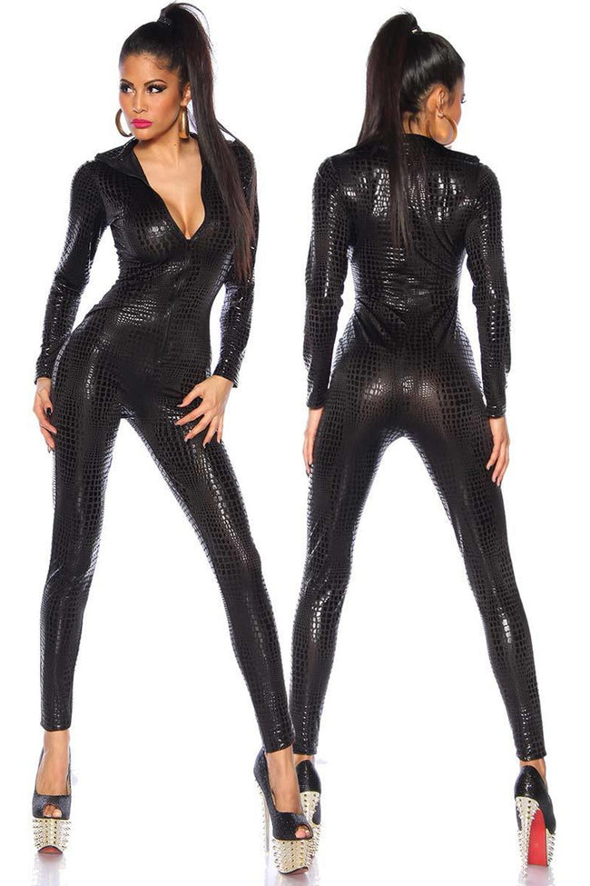 Black Metallic Reptile Jumpsuit - PureDiva