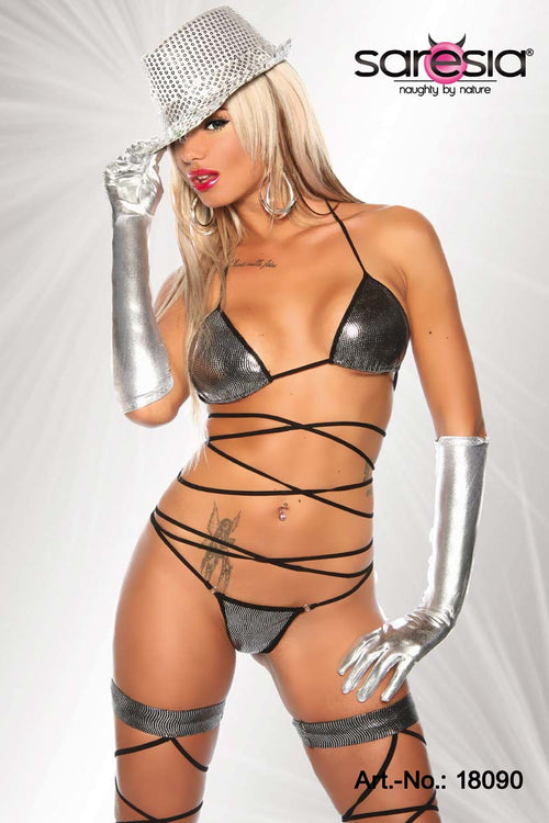 Silver Wrap Around bikini Set-Bra Sets-PureDiva