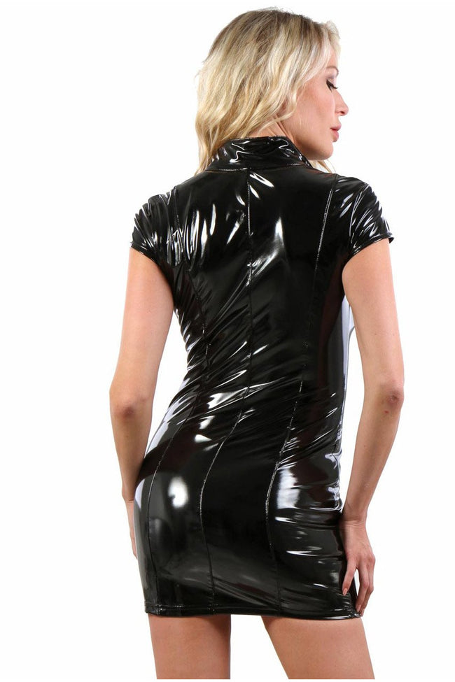 Sexy Vinyl Short Sleeve Dress