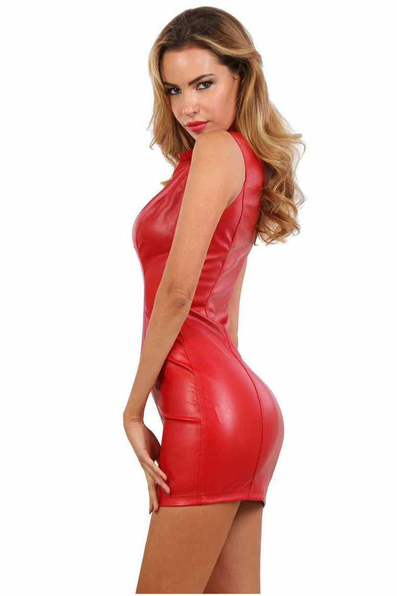 Red Leather Mini Dress-Party Dresses-PureDiva