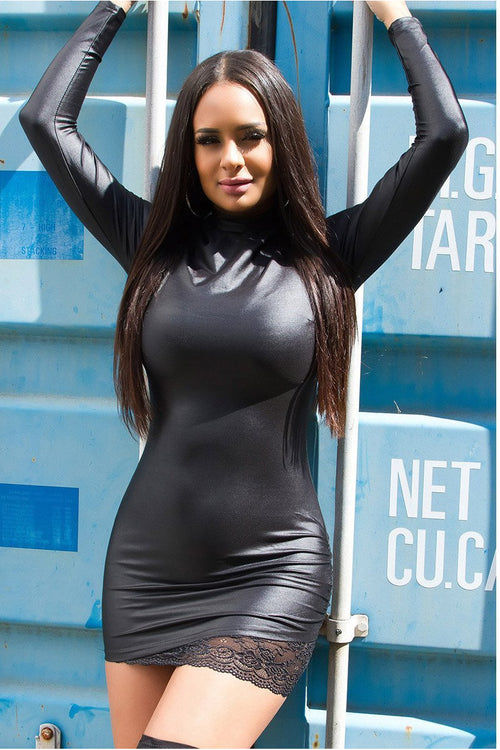 Sexy Mini PVC Dress with Long sleeve-Party Dresses-PureDiva