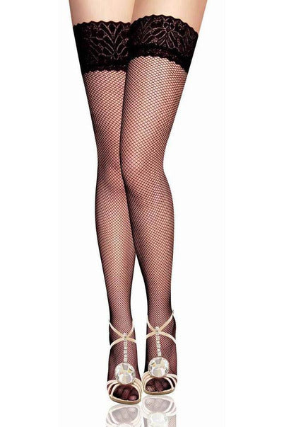 Black Fishnet Lace Top Stockings-Leg Wear-PureDiva