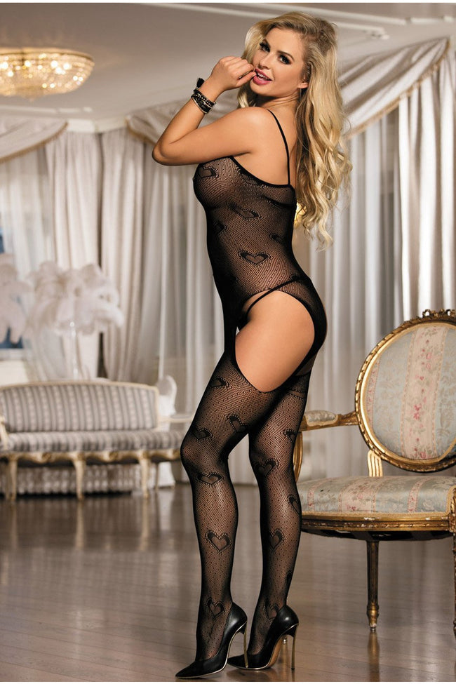 Heart Mesh Bodystocking - PureDiva
