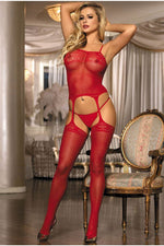 Red Lace Cami Garter Bodystocking-Body stockings-PureDiva
