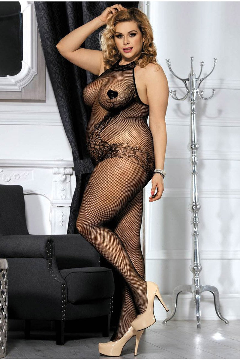 Plus Size Lace and Fishnet Turtleneck Bodystocking-Body stockings-PureDiva